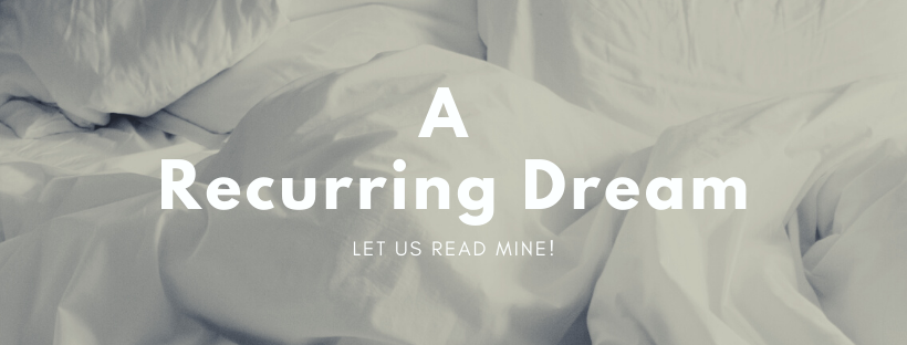 """A Recurring Dream"" text over a white bunch up blanket."