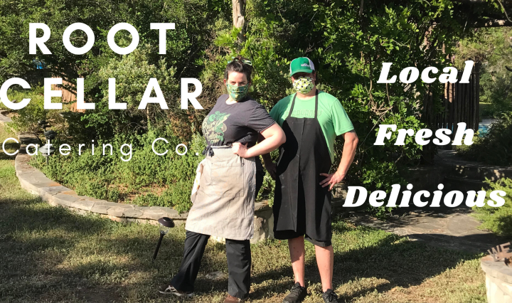 "Photo of Megan Turbeville and an employee with the words ""Root Cellar Catering Co."" and ""Local, fresh, delicious"" over it"