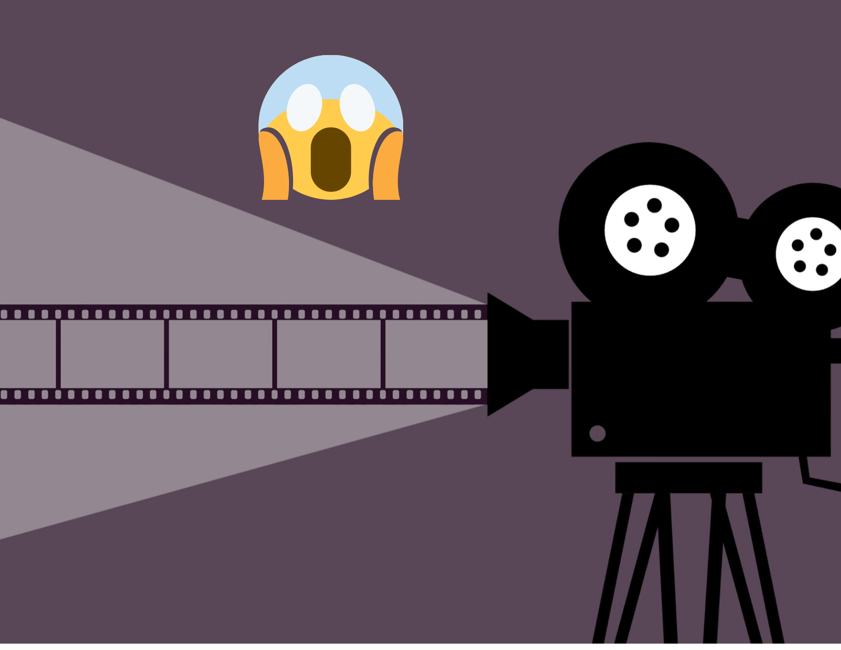 A large movie camera against a purple background. A shocked face emoji is placed above the movie camera