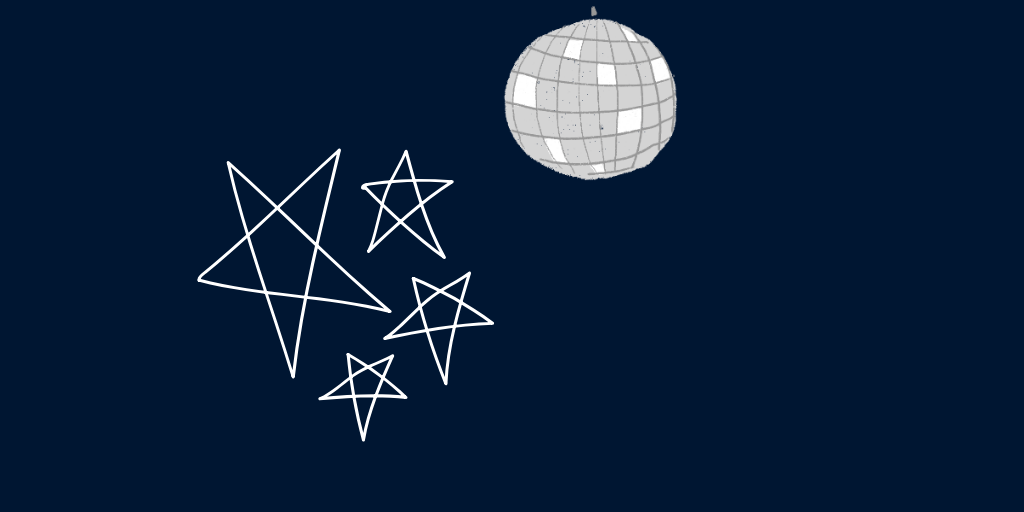 a disco ball and stars