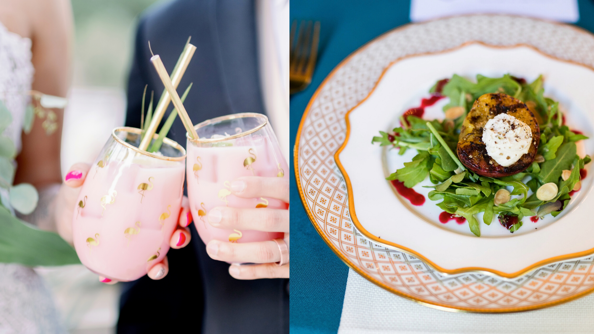 Photo of drinks and salad available at Root Cellar Catering Co.