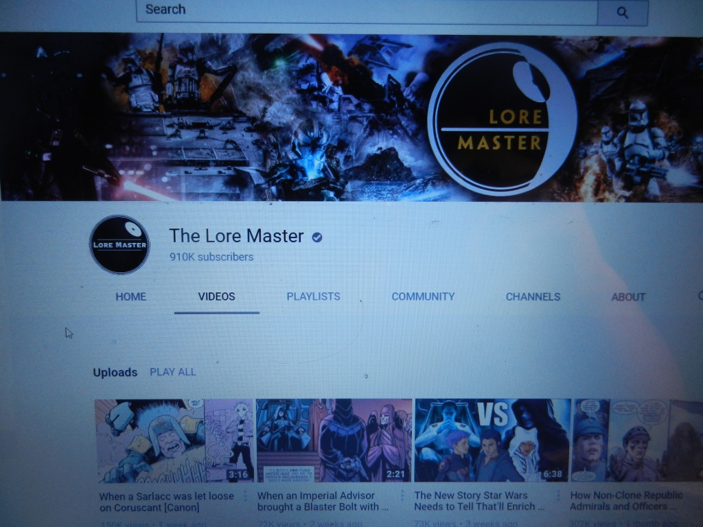 The channel homepage of The Lore Master