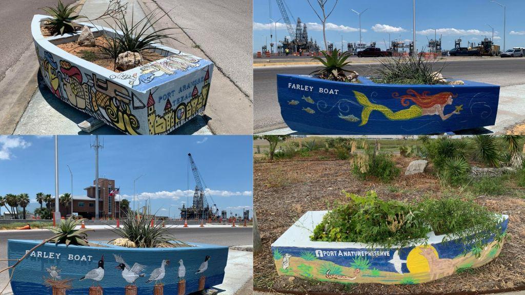 Four collaged photos of Farley boats around Port Aransas.