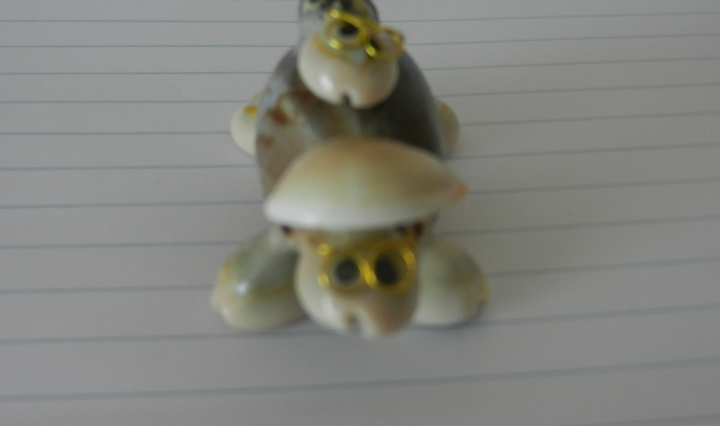 A model of sea turtles sits on a notebook pad