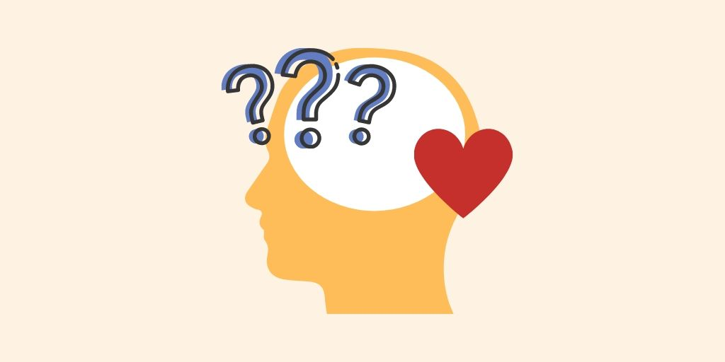 a silhouette of a head with three question marks and a heart