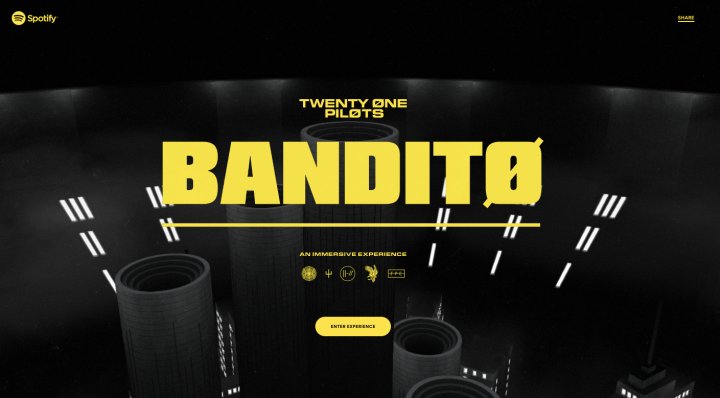 Displays the black and yellow experiential website of Bandito in partnership with Spotify.