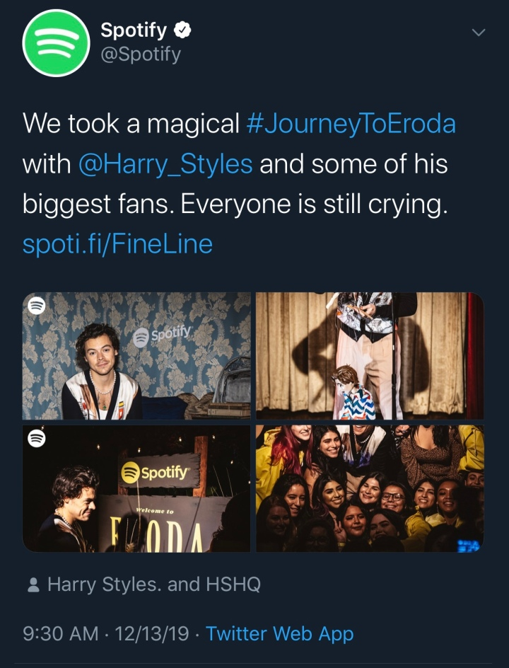A tweet by Spotify containing images from their Journey To Eroda experience. Harry Styles is pictured with fans, and the set reflecting the Adore You music video is displayed.