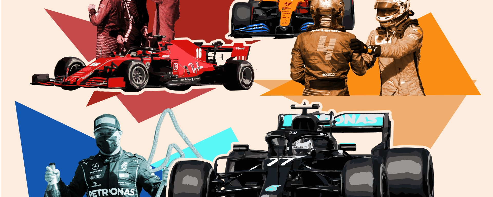 Three formula one drivers celebrate the podium with colorful shapes behind them and their cars