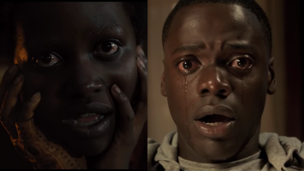 Two headshots of the main characters from the films Get Out and Us.