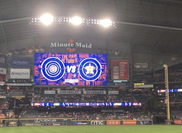 Photo of the Right Field scoreboard in Minute Maid park in a game versus the Chicago Cubs in May of 2019