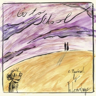 "A drawing of a purple-sky landscape and a yellow grass hill. At the top of a hill, a man and woman stand together. At the base of the hill, there is a smiling monkey. On the photo in cursive writing, it reads ""Go to School: A Musical by The Lemon Twigs""."