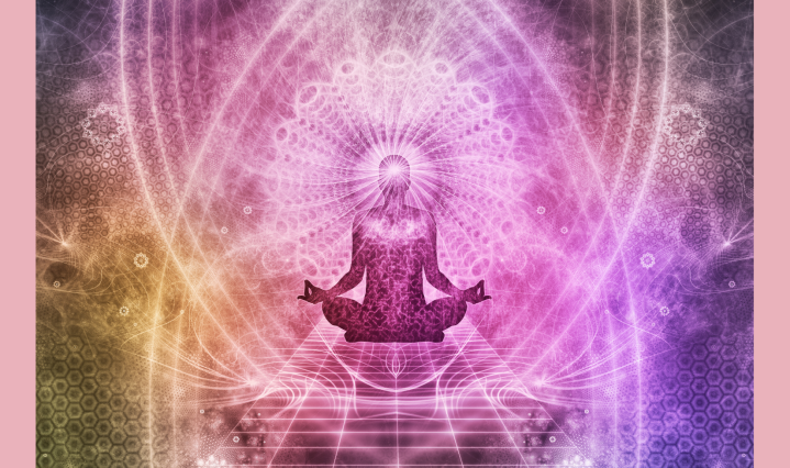 a meditating figure surrounded by pink/purple designs against a pink background