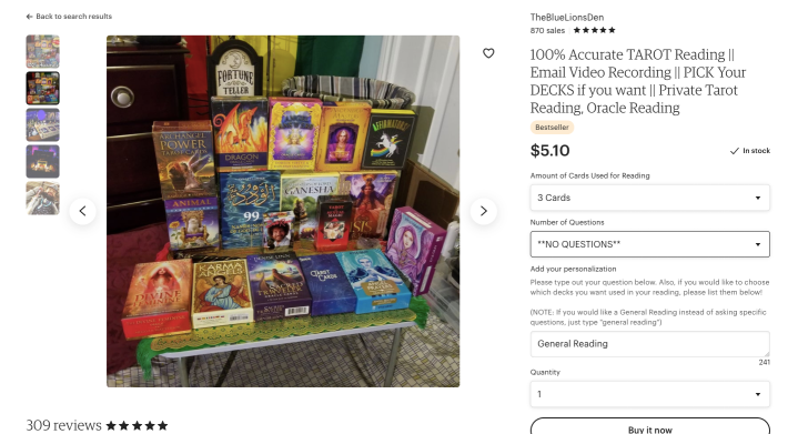 Screenshot of Etsy listing for tarot reading.