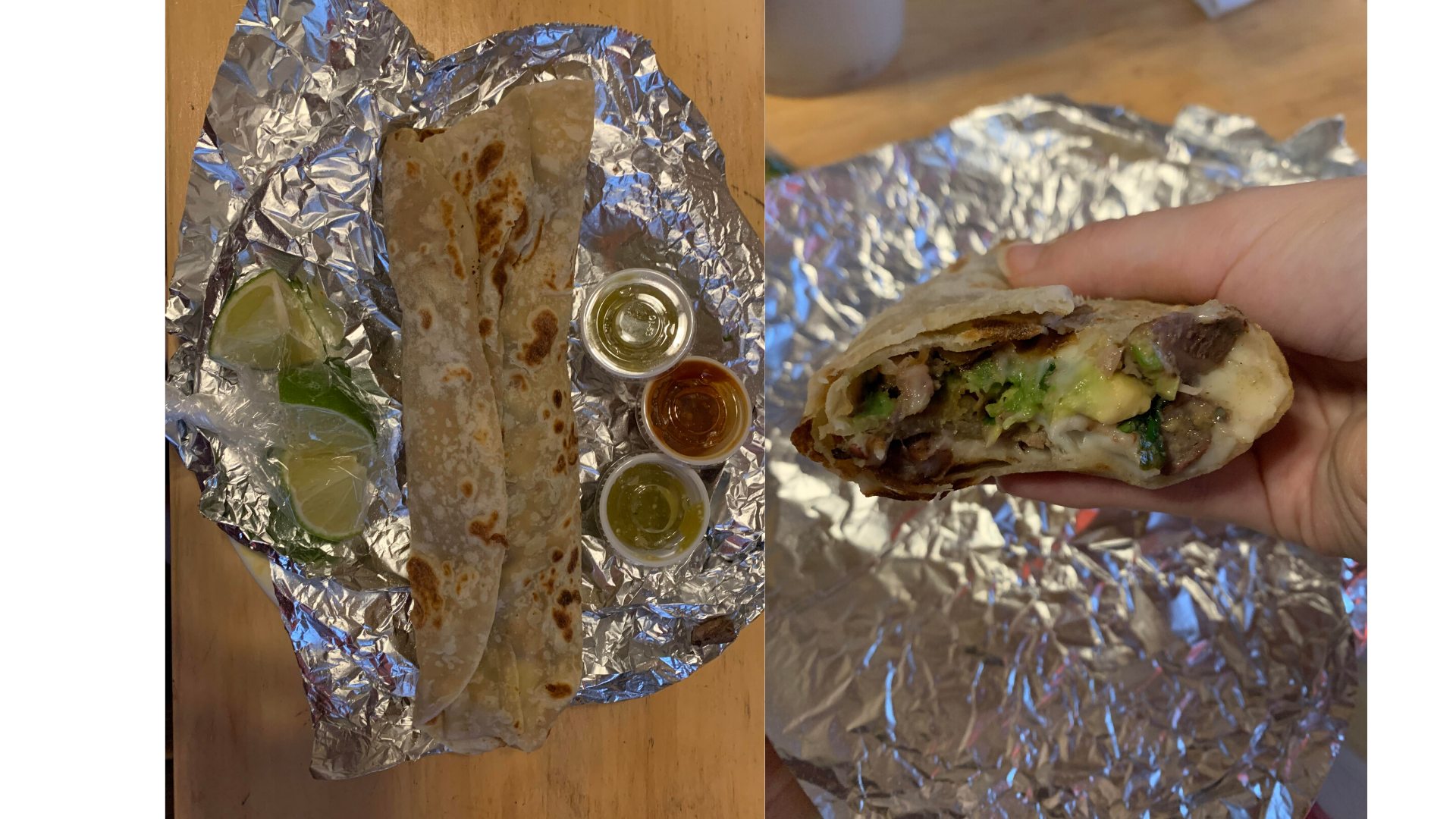 Photo of a taco and inside the taco