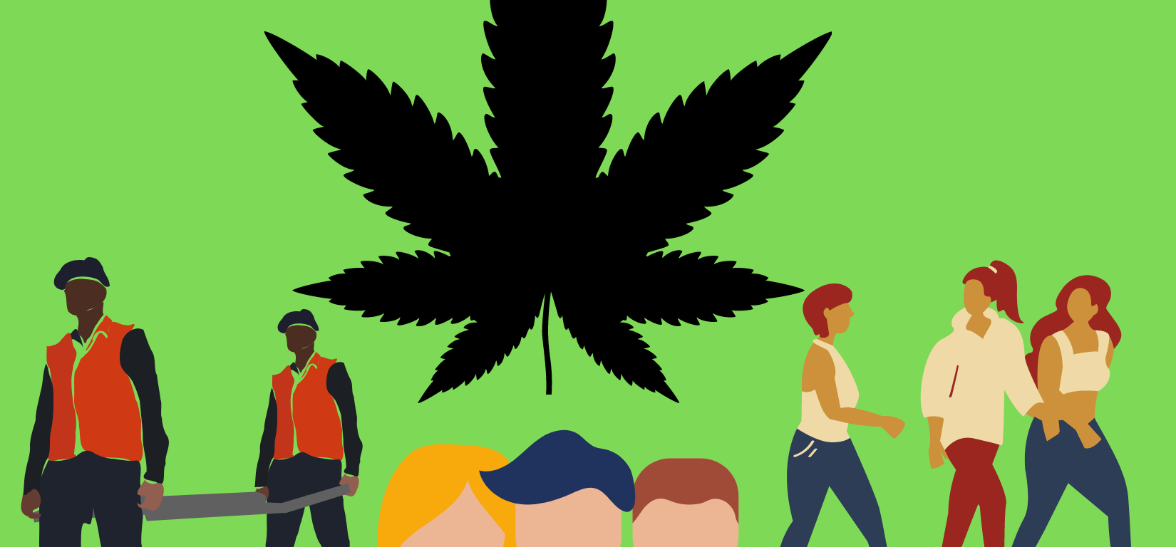 green back ground with black marajuana leaf in the middle with drawings of people on the left, middle, and right