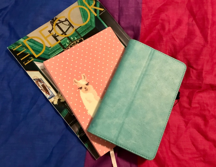 Image of turquoise kindle stacked on pink polka dot journal with llama characters stacked on Decor magazine placed on bisexual pride flag background.