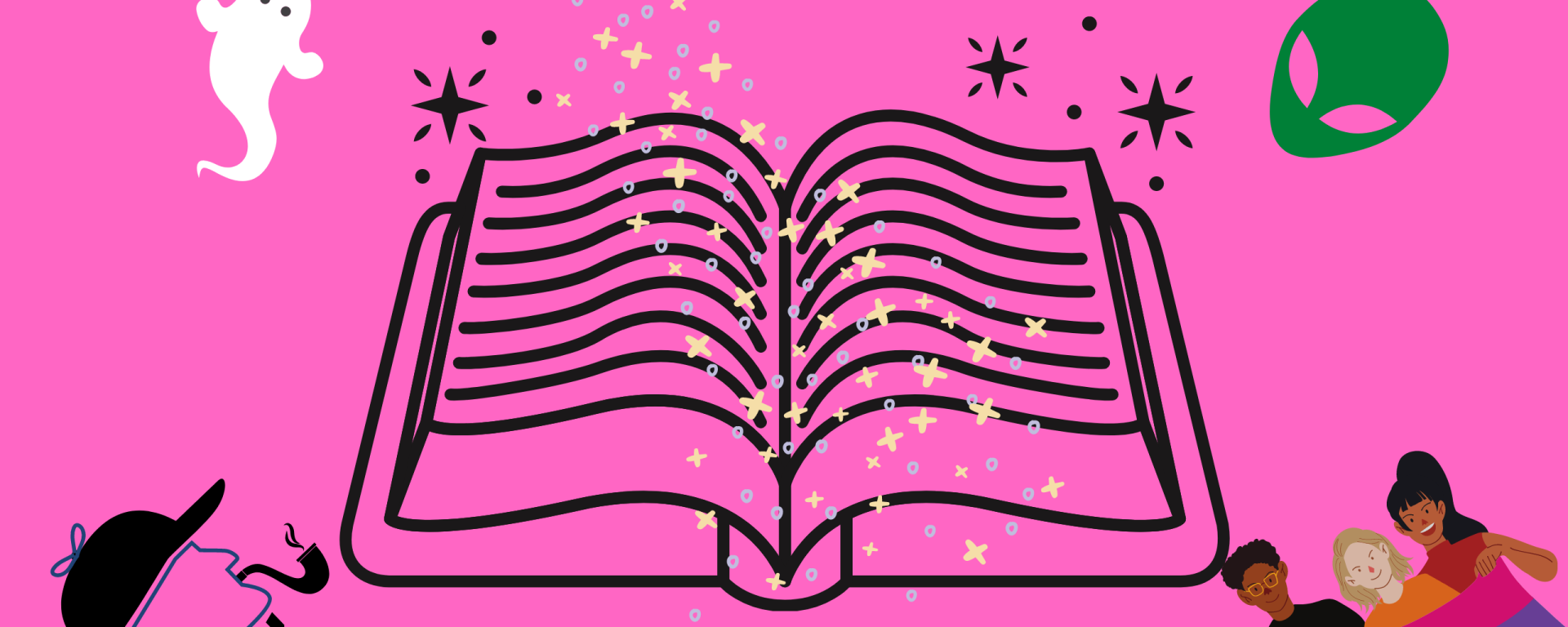 Image of pink background with book in center and sparkles coming from the center with smaller pictures surrounding.