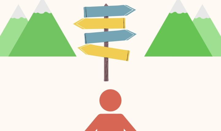 person, mountain range, a sign with 4 arrows pointing different directions.