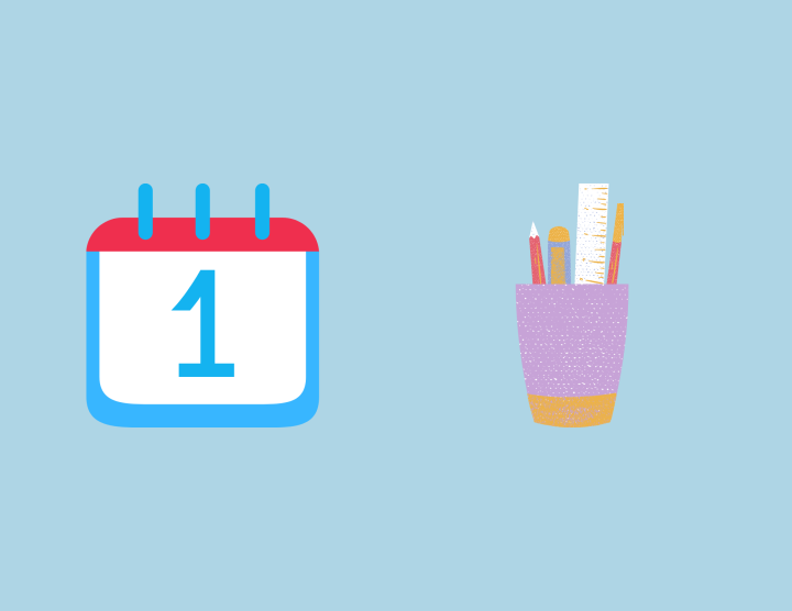 a cup holder with pen and pencils alongside a calendar with the number one