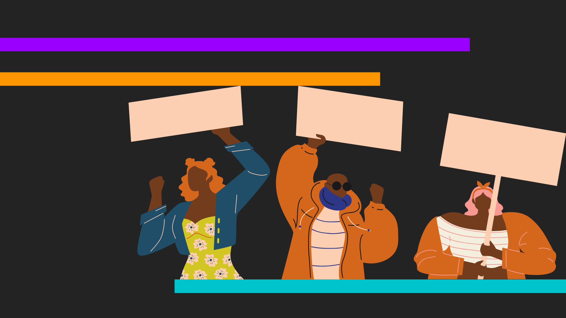 A black, purple, and turquoise background with cartoon-drawn people protesting