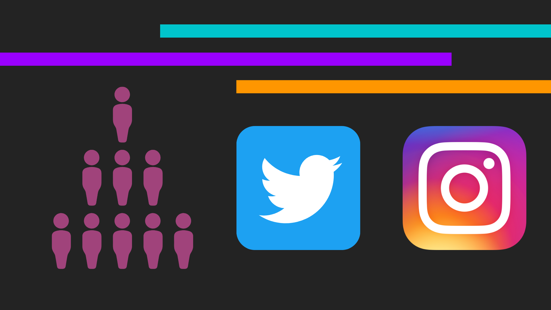 A black, purple, and turquoise background with the Twitter and Instagram logo.