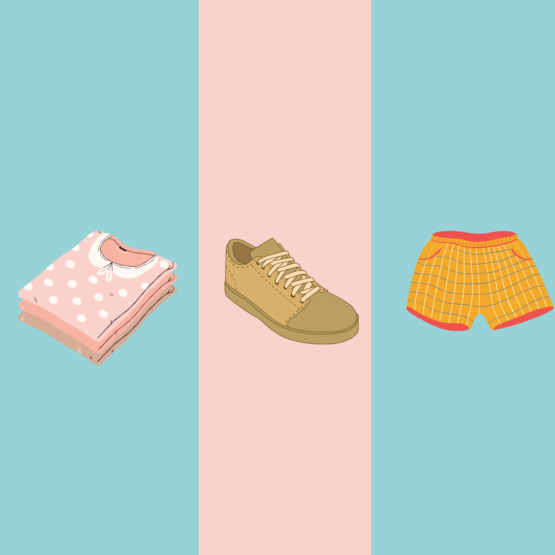 pink, blue and tan backgrounds with shorts, shoes and a pile of shirts