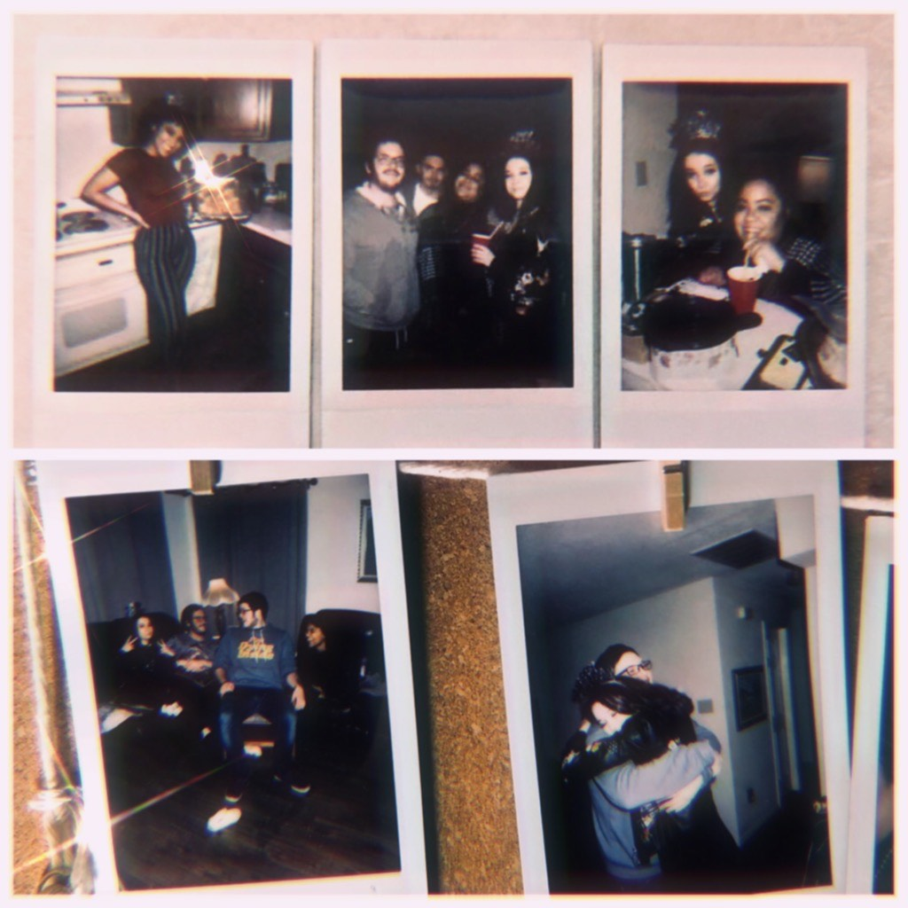 Five Polaroid photos of various people