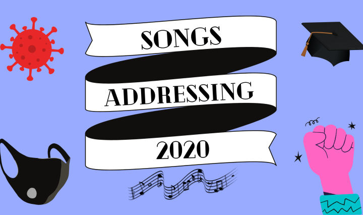 "A banner is placed in the center of the photo that reads ""songs addressing 2020"" with icons of COVID-19, a mask, a graduation cap and a protesting fist."