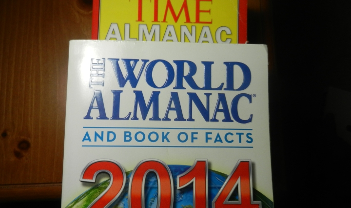 A 2012 and 2014 almanac stacked together