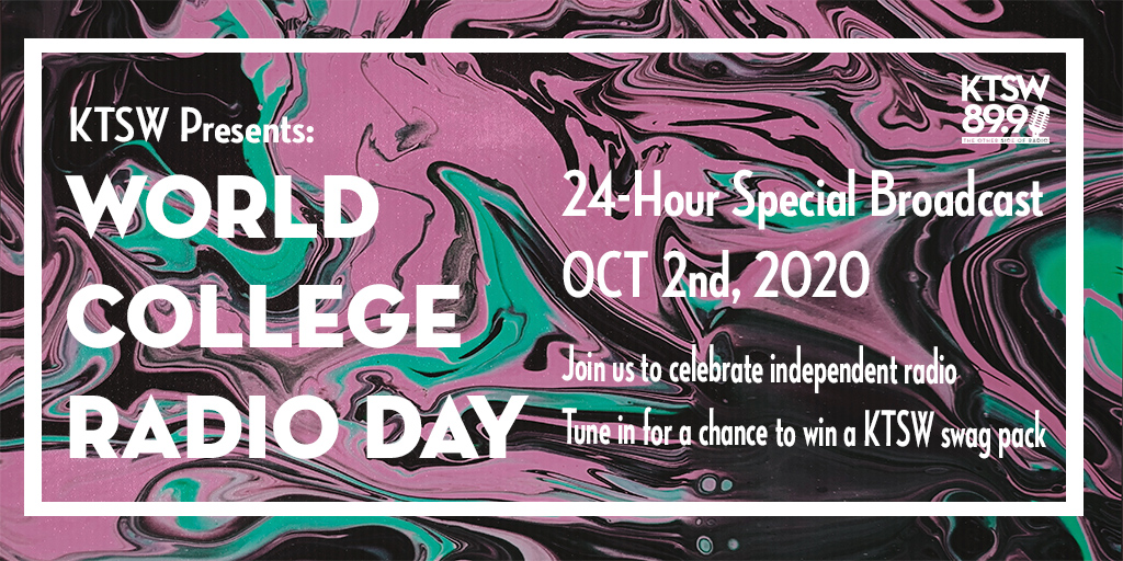 marble pink, blue, black background with white lettering saying ktsw presents world college radio day/