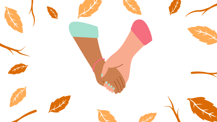 Orange background with leaves and hands ontop