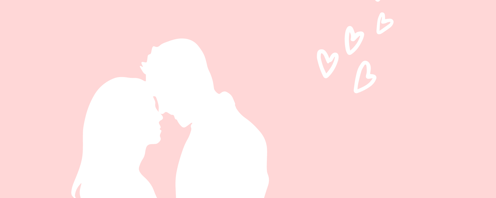 two silhouette of a man and woman on a pink background