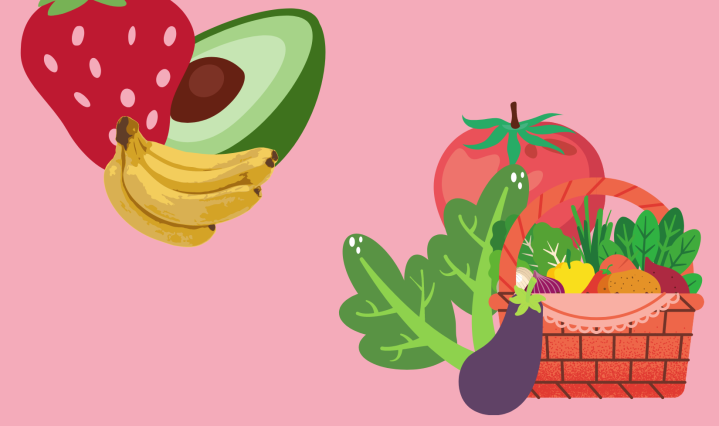 Assorted fruits and vegetables placed on a pink background