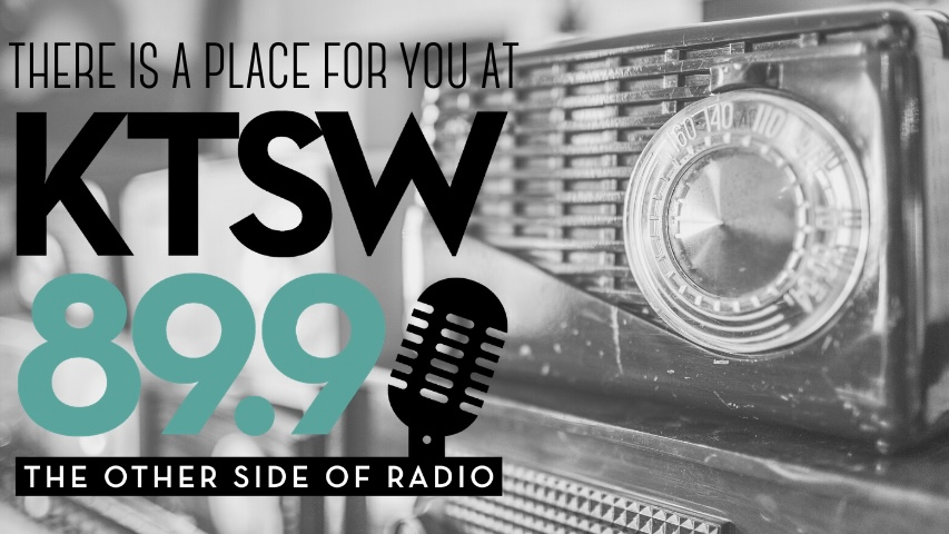 the image of old radio with KTSW logo overlay
