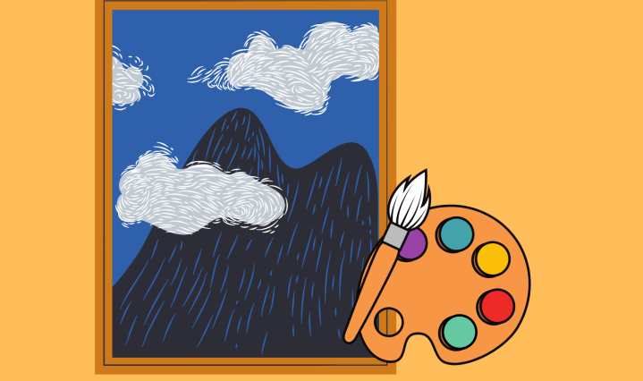 A large landscape painting and a palette with paint are placed on an orange background