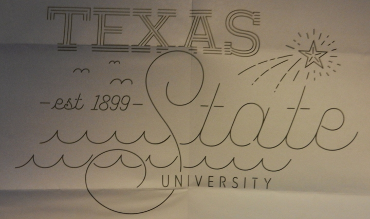 A poster of TXST university close-up.