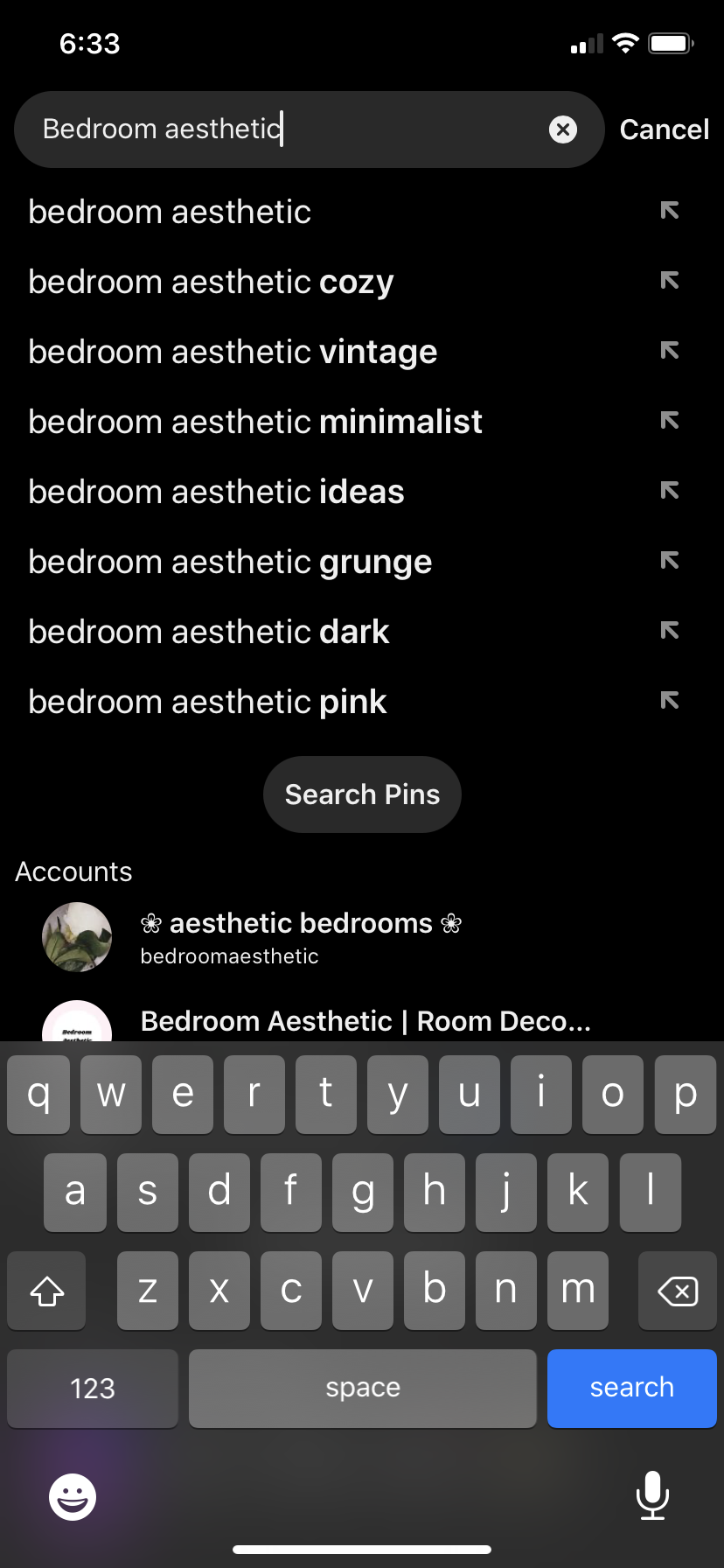 """Screenshot of a Pinterest search for """"bedroom aesthetic"""""""
