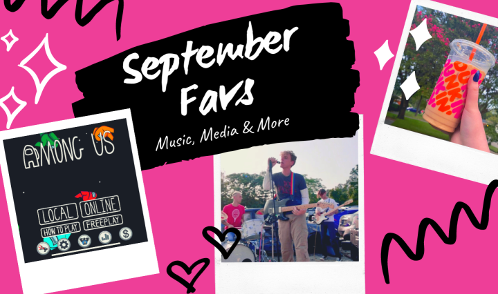 """Three polaroid's scattered with the title """"September Favs"""""""