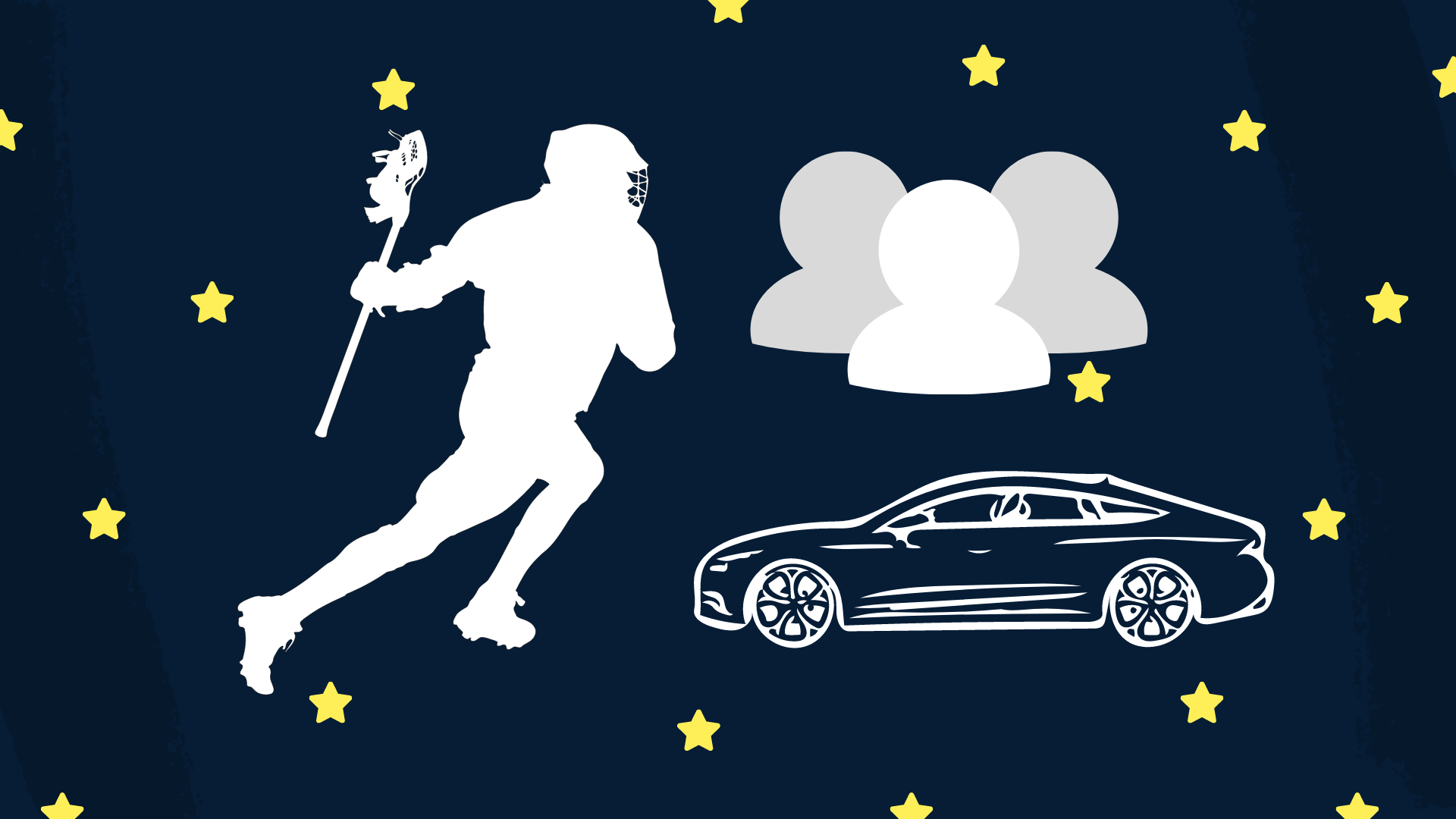 Drawings of lacrosse, a car, and cut out members