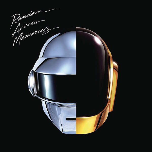 The album cover is a hyper-realistic painting of the two band members of Daft Punk's helmets side-to-side on a black background. A shiny, chrome robot helmet is painted on the left side of the artwork and a black-and-gold colored helmet is painted on the right side of the artwork. On the top-left corner of the album art reads the words Random Access Memories in English and hand-written white text.