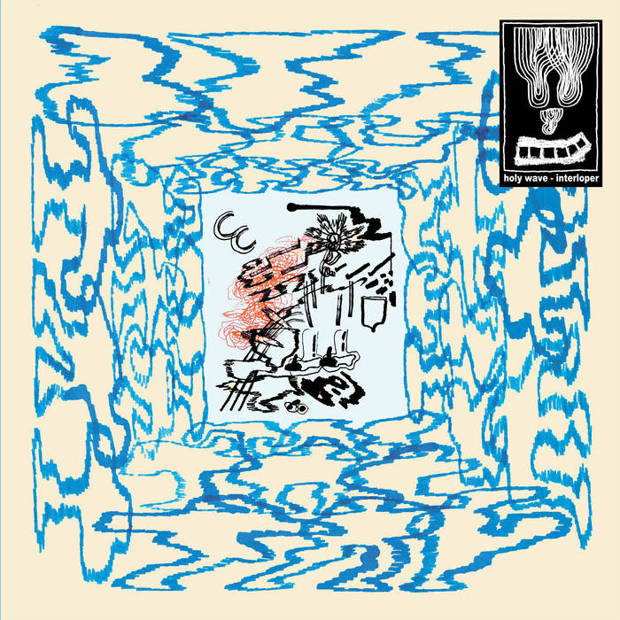 The album cover contains a white background with a light blue tie-dye pattern around the cover, the center of the album is a light blue rectangle. The tie-dye pattern surrounds the blue rectangle and inside the center is a grouping of black images. These black images contain bold lines and irregular shapes, and a scribble drawing of red lines is placed along with the black images.