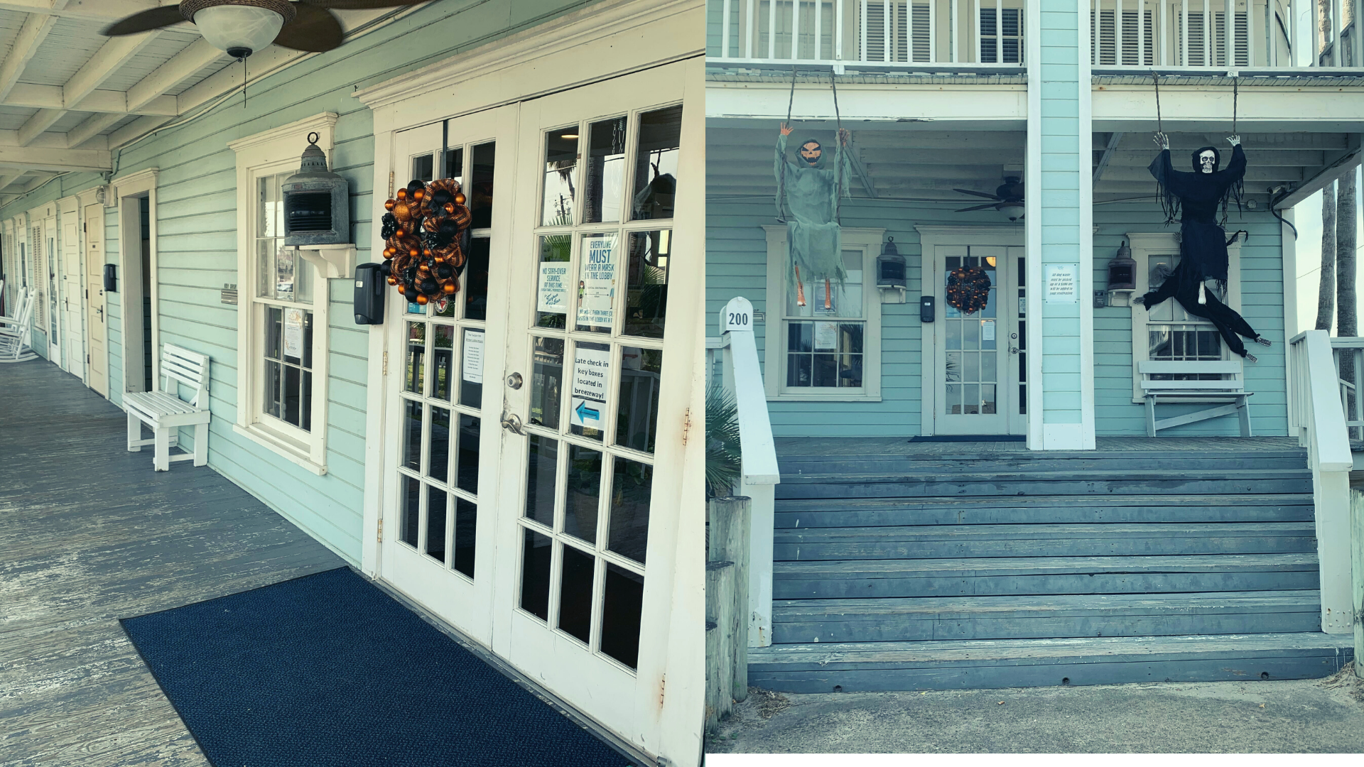 Photos of the front entrance and breezeway of the Tarpon Inn