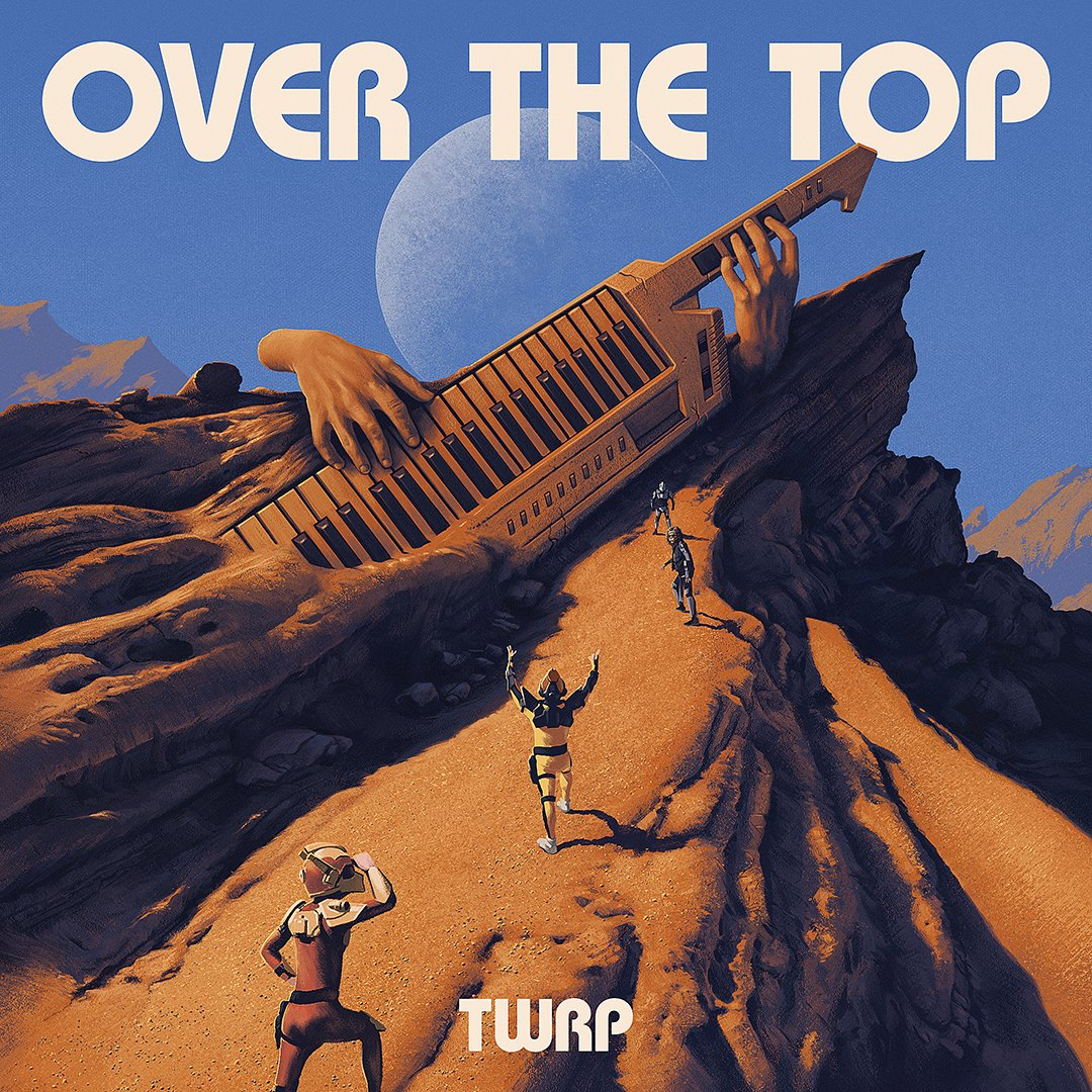 The album cover is a hyper-realistic painting of the four band members of TWRP climbing an altered-version of the famous rock formation Vasquez Rocks in Los Angeles County, California. The formation is of a giant set of hands playing a keytar. The keytar featured in the album artwork is a Casio AZ-1. On the top of the album art reads the words Over The Top in English and enlarged white text.