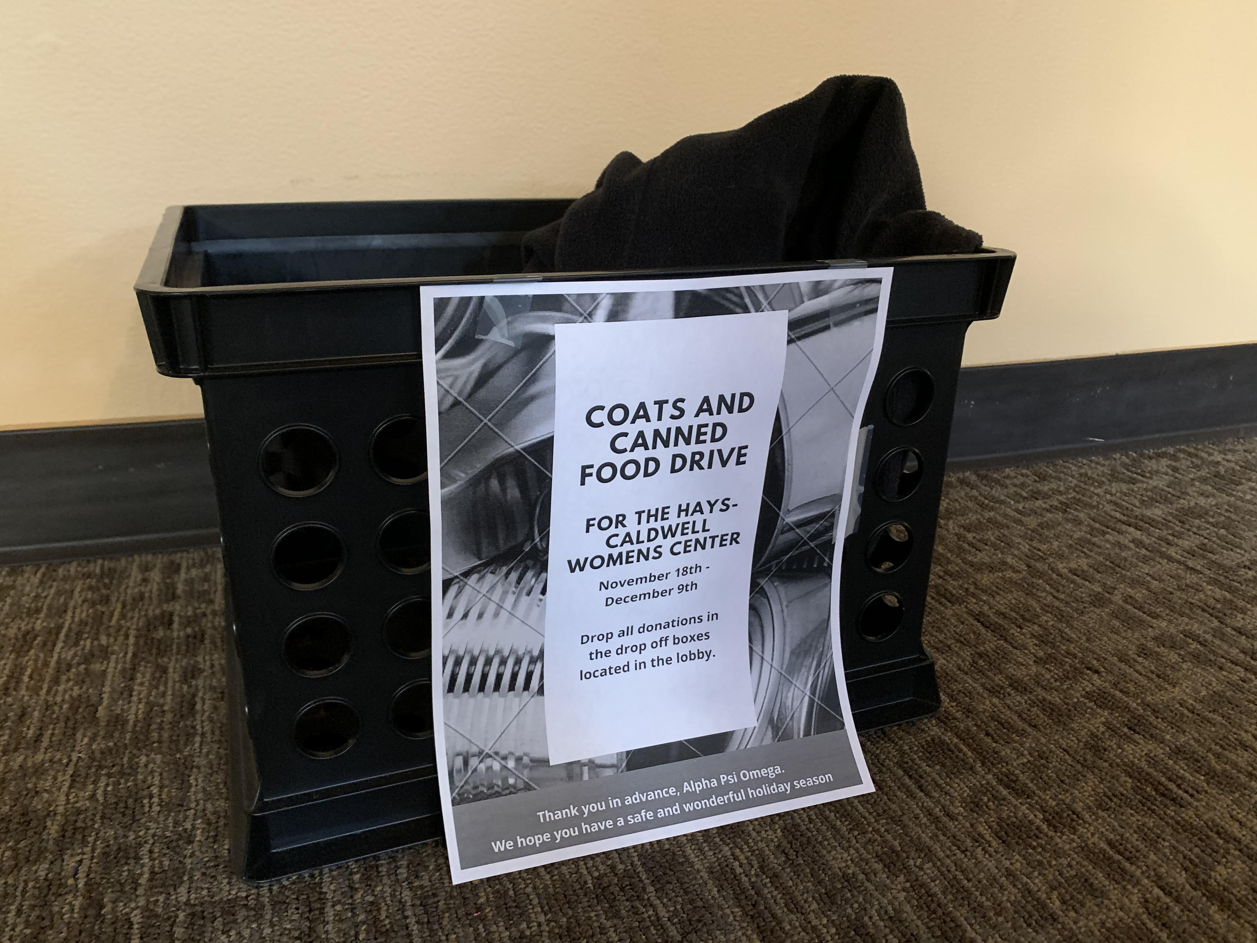 The donnation bin at the Theatre Building lobby.