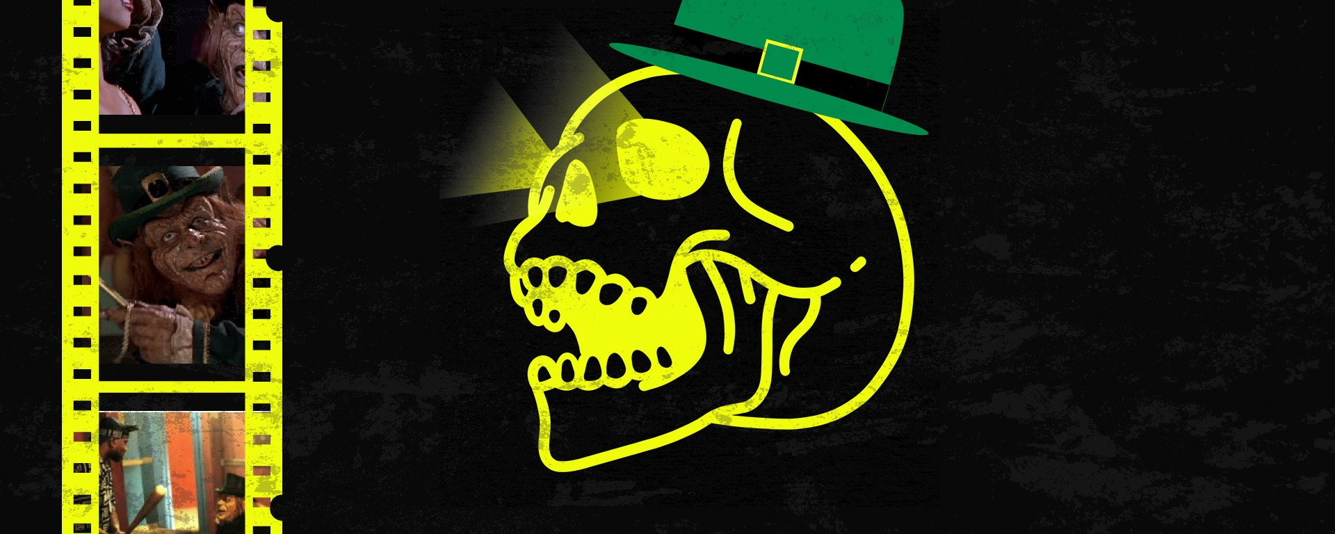 good bad movies logo skull with film reel with screenshots from leprechaun in the hood movie.
