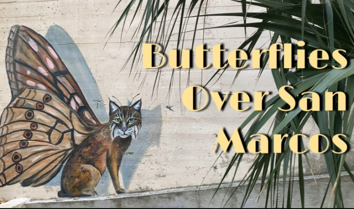 """Butterflies Over San Marcos"" written over a picture of bobcat/ butterfly mural near Texas State's agriculture building"