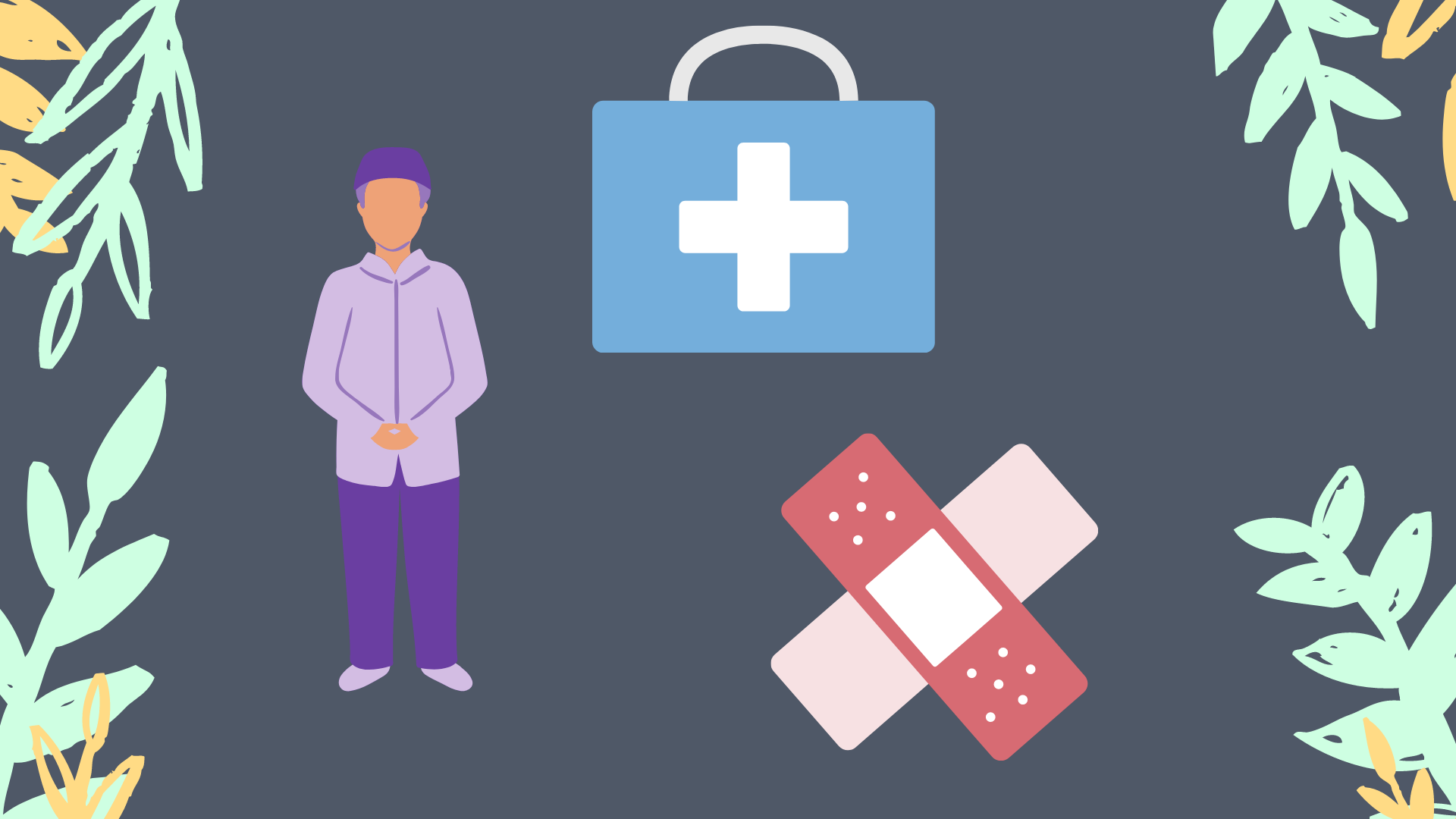 Purple and blue background with drawing of man, health kit, and bandaid