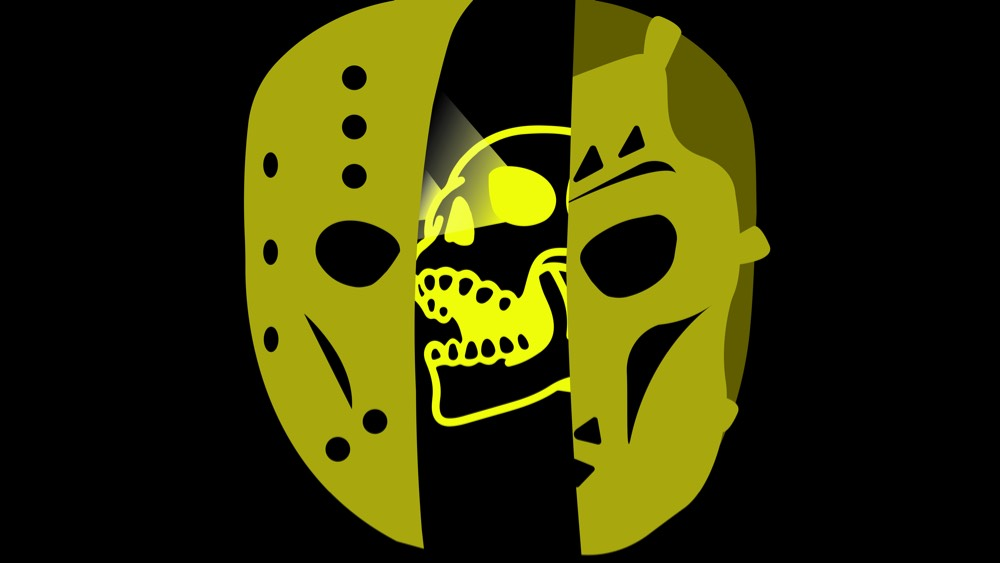 black background with spilt yellow jason mask with yellow skull in the back