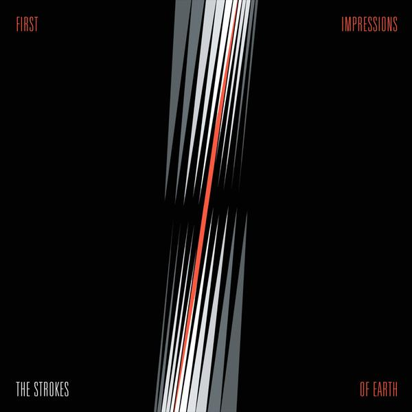 The cover features a pitch black background with sharp streaks of white, grey, and red. The album title and band name is written out on each corner of the cover.
