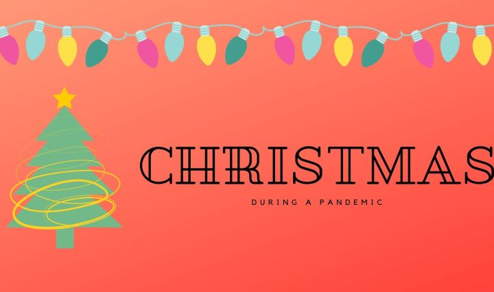 "Red background with Christmas lights and a Christmas tree. ""Christmas During A Pandemic"" in black lettering"